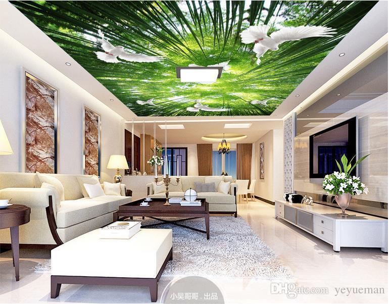 3d небо потолок обои пользовательские 3d фото обои зеленый лес небо Голубь обои для гостиной 3D потолочные фрески обои