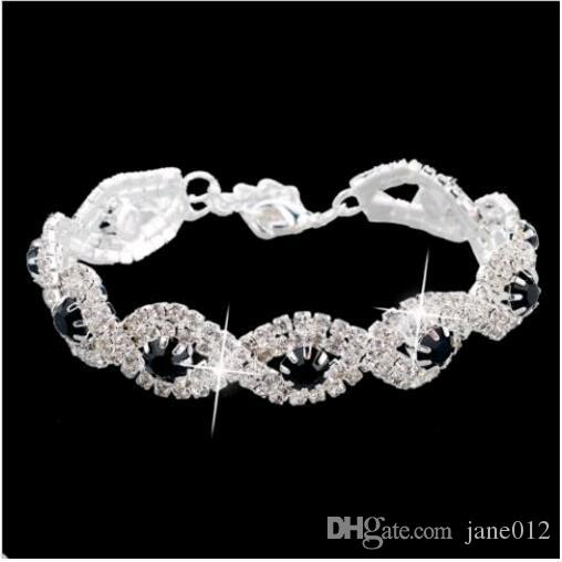 Корея Женщины Серебро / Позолоченные Кристалл Цепи Теннисные Браслеты Rhinestone Row Ручной Ювелирные Изделия для Свадебная Вечеринка Дешевые