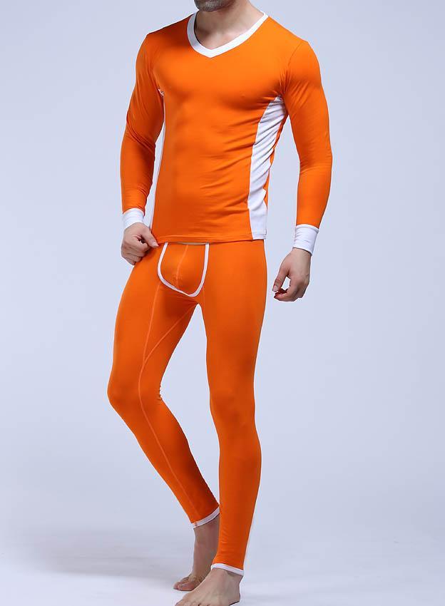 WJ Marque Hiver Thermique Longue Johns Set Hommes Coton Sous-Vêtements 2017 Confortable Hommes Chaud Pyjamas Gay Vêtements De Nuit Tops Leggings Pantalon