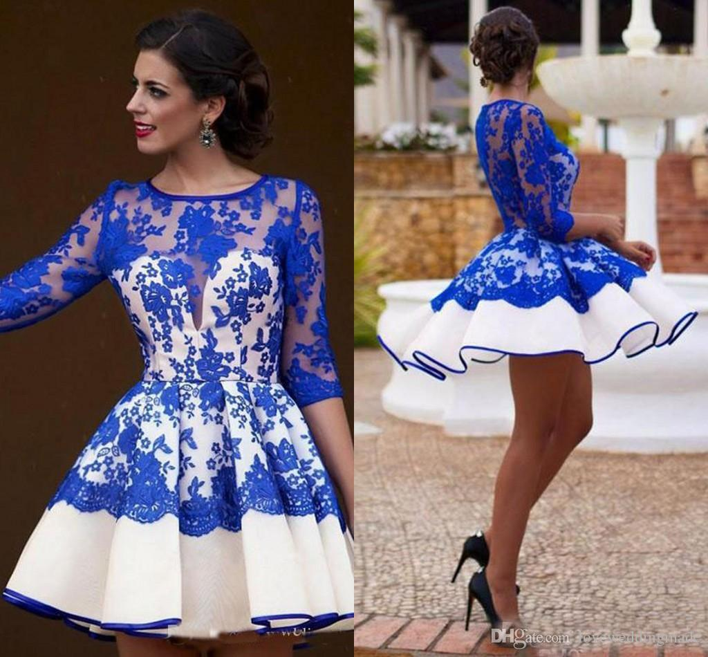 8adbcaf27c3 Newest Royal Blue And White Short Prom Dresses 2017 Sheer Half Sleeves  Applique Lace Jewel Neck Homecoming Dresses Cheap Size 18 Prom Dresses  Sparkle Prom ...