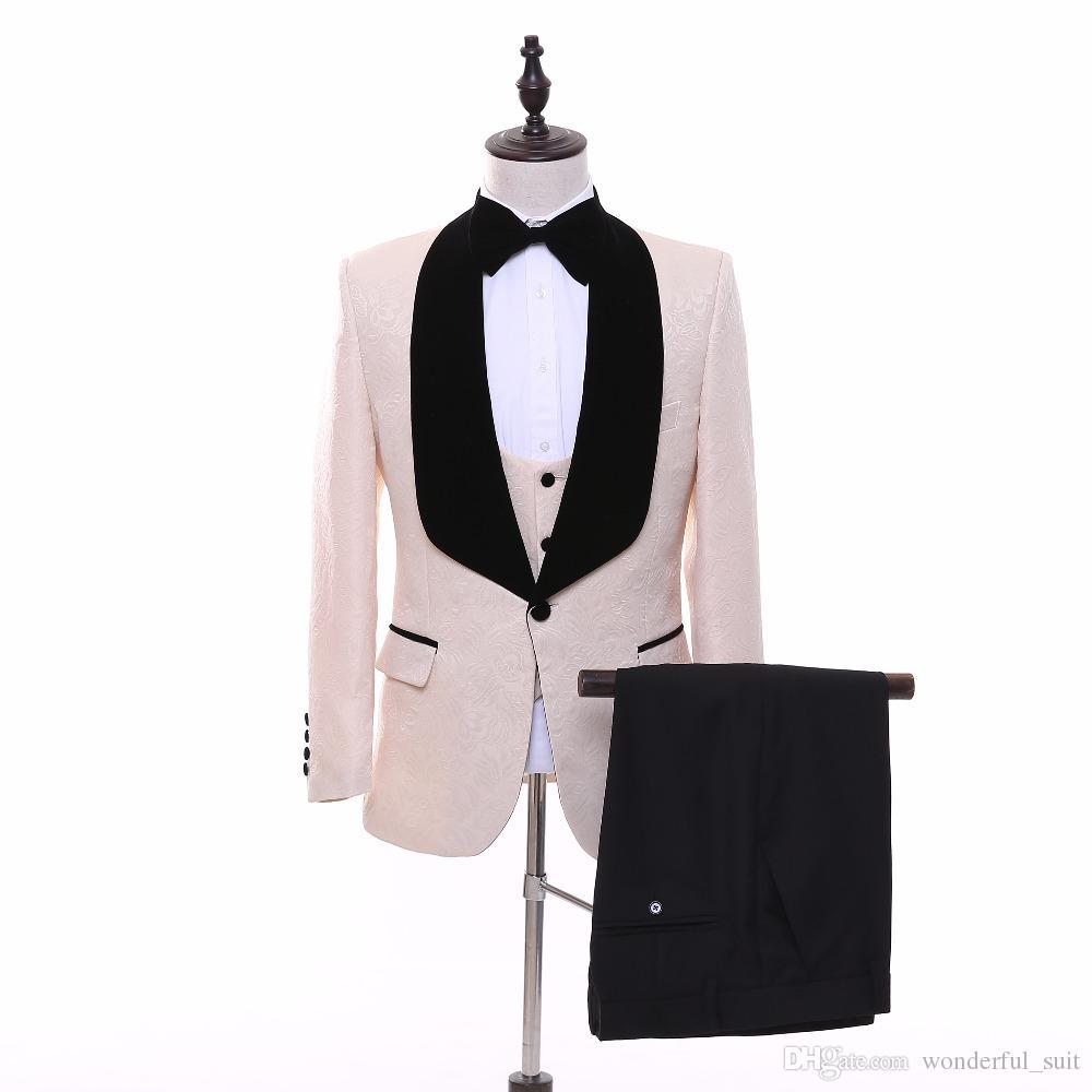 2017 Custom Shawl Lapel Groom Tuxedos Ivory/Red/White/Black/Blue Men Suits Wedding Best Man Blazer Jacket+Pants+Vest