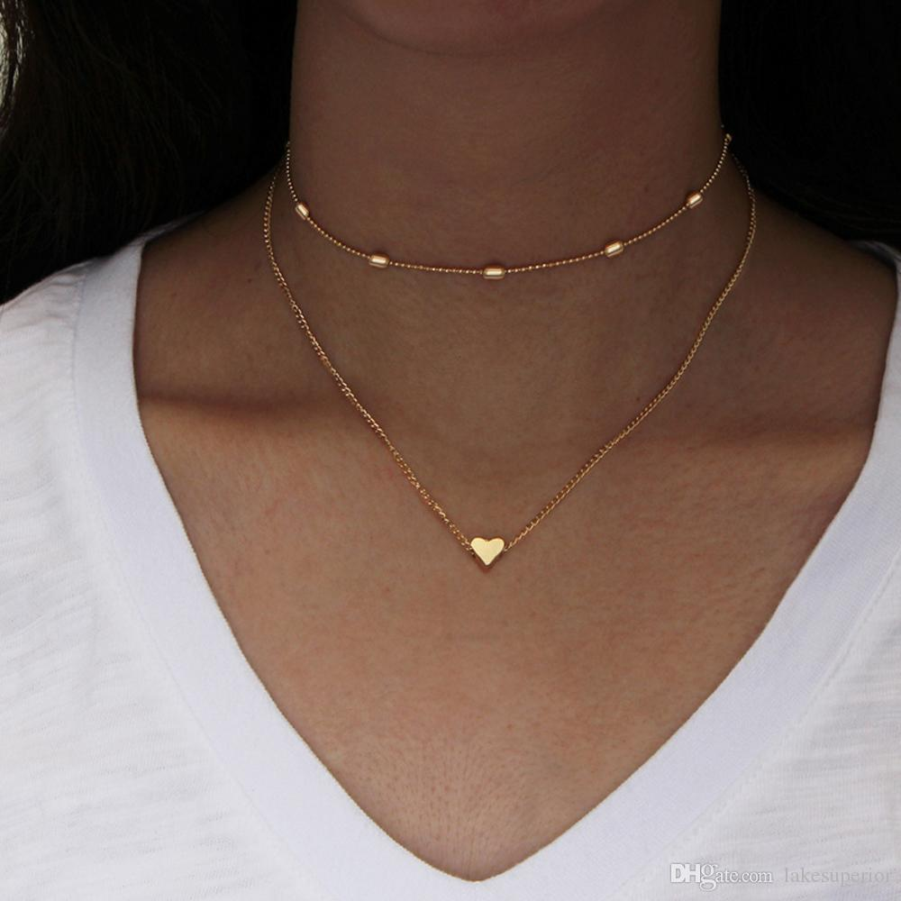 Wholesale women ladies heart shaped pendant choker necklace clavicle wholesale women ladies heart shaped pendant choker necklace clavicle chain simple style adjustable short necklace gift for girlfriend anchor pendant aloadofball Image collections