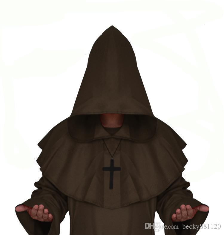 Взрослые Мужчины Средневековые Монахи Монах Халат Костюм Платье Мастера Платье Одежда Христианский Пастор Полный Комплект Хэллоуин Одежда Оптовая
