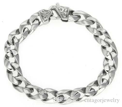 316L Stainless Steel Mens High Polished Cross Flower Symbol Casting Double Curbed Linked Chain Bracelet