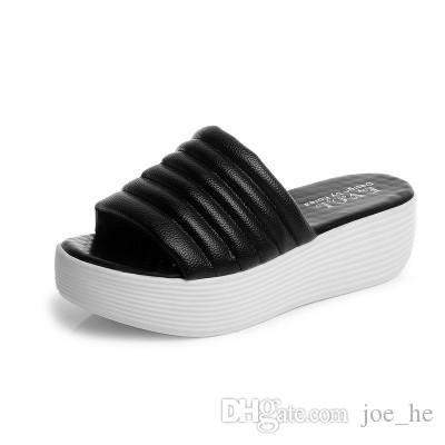 Cheap New 2017 WOMEN SLIPPERS Girls Fashion Leather Indoor Rubber Slide Sandals Scuffs Grey/Pink/Black