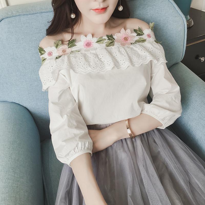 b9e45bacf82 Fashion New 3d Flowers Shoulderless Cotton Girl s T-Shirt Blouses ...