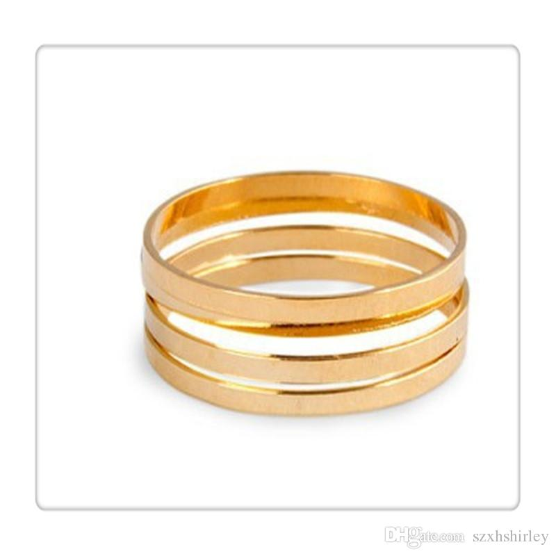 2017 Hot Set Finger Rings Stack Plain Cute Above Knuckle Ring Band Midi Ring Set For Women Gold Tone Gift Free DHL