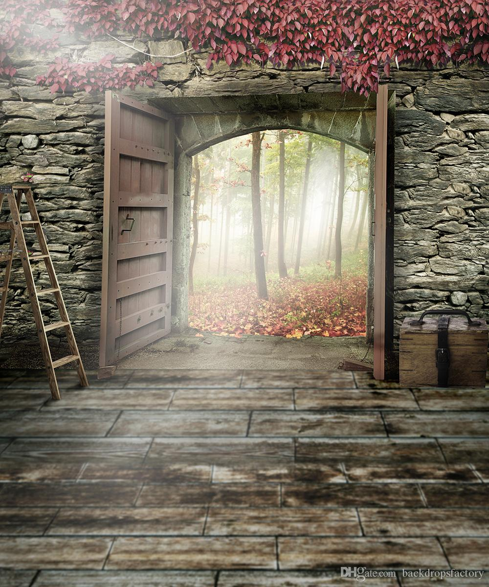 2018 Retro Vintage Wooden Door Photography Backdrops Brick