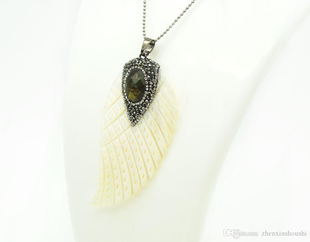 Fashion white natural Shell Angel Wings With Paved Crystal Stone Pendants For Women Man Jewelry Making DIY Necklace gem pendant