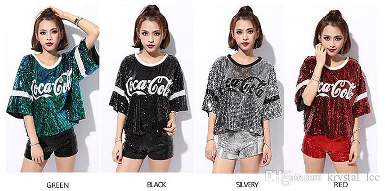 Nightclub ds New Female show clothing Jazz Dancing outfit Hip-hop party clothing Red, Green, Black, Silver Sequined Short style T-shirt 2044