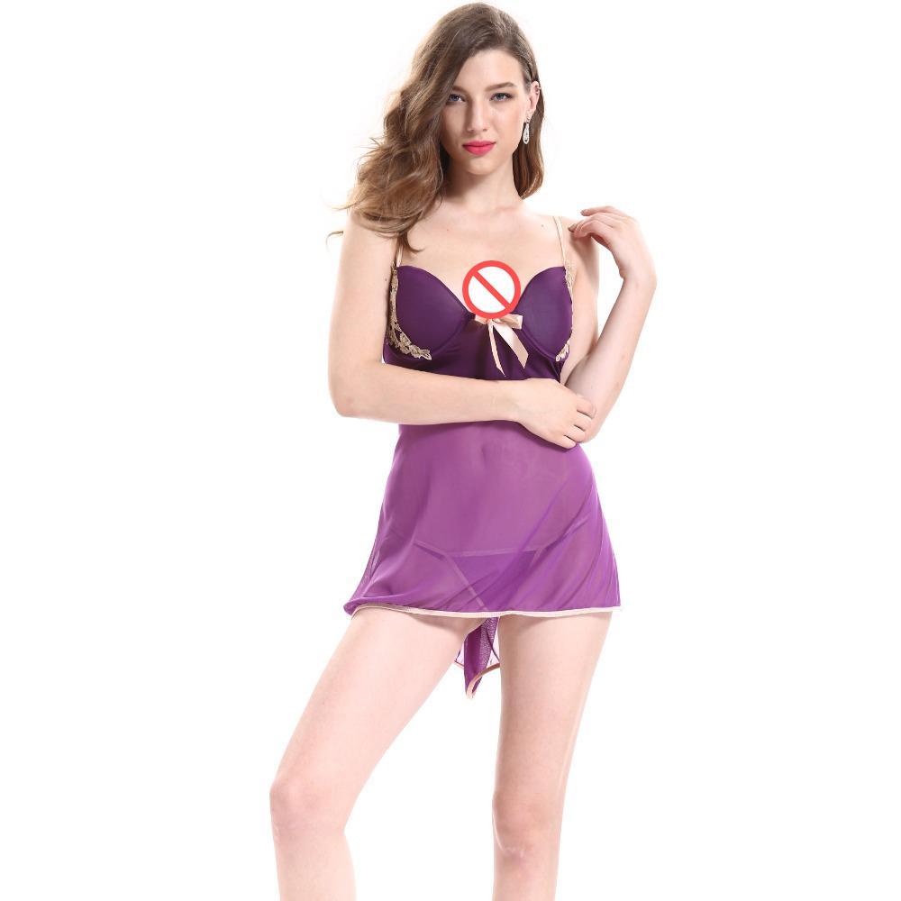 0d102127bf400 Plus Size M 3XL Women Sexy Lingerie Sleepwear Nightwear Satin Push Up Bra  Backless Night Dress Purple Babydoll Sex Doll Clothing Sexy Pyjama Sexy  Satin From ...