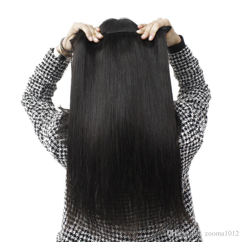 10bundles / fabrik grossist mjuka brasilianska raka hårväv 100 mänsklig remy hårförlängning 1b naturligt svart fullt peruanskt jungfru