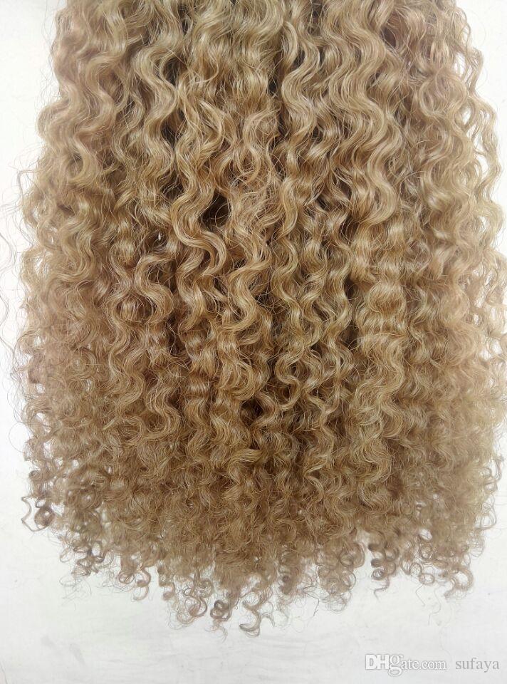 brasilianisches menschliches reines remy clip ins haarverlängerungen verworrene locken haareinschlagmittel braune dunkelblonde farbe