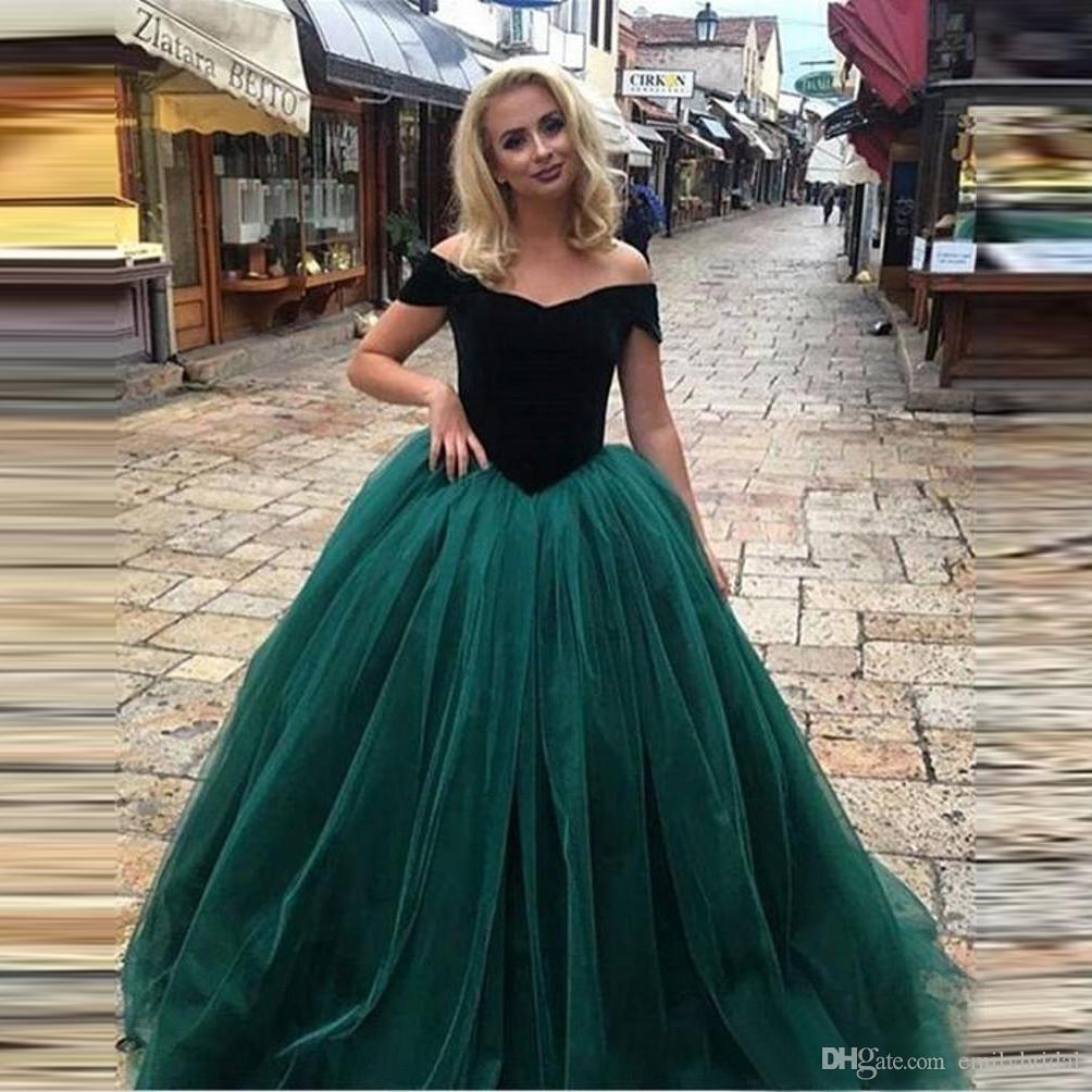 Großhandel Dunkelgrün Vintage Prom Dresses Samt Aus Schulter Tüll ...