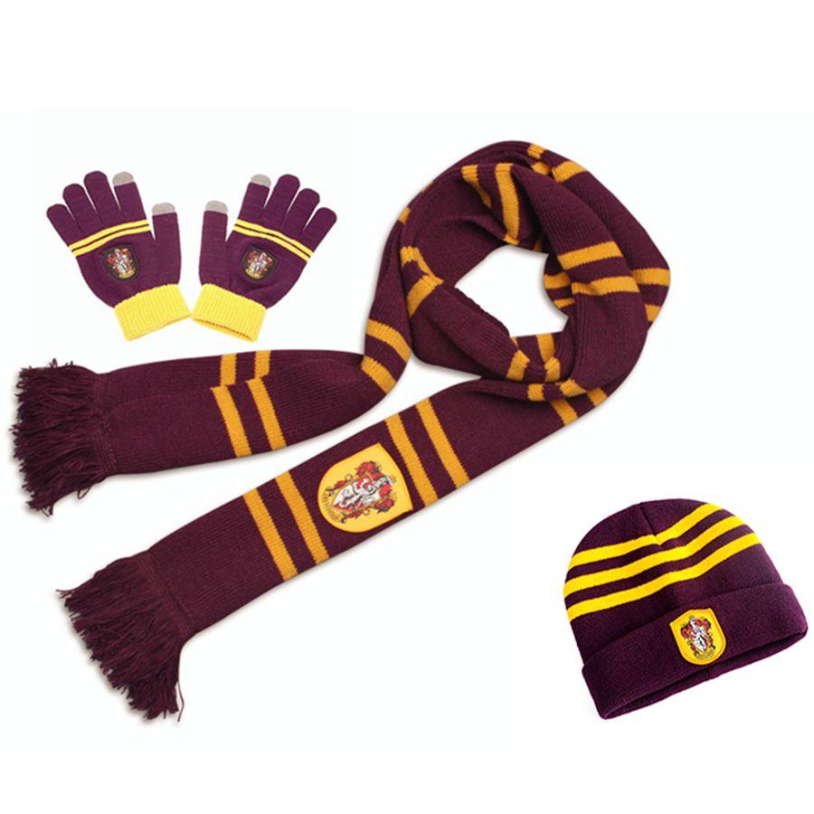 Acquista 3 Pezzi Harry Potter Sciarpe Sciarpe Hat Touch Gloves Grifondoro    Serpeverde   Tassorosso   Corvonero Sciarpe Cappello Guanti Tattili Harry s  ... 147a041183b5