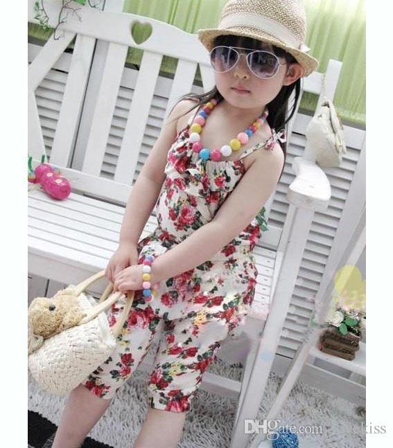Meninas Calças 100% Algodão Gêmeos Calças Roupas de Bebê Meninas Jumpsuit Crianças Roupas de Impressão Flor Verão Outfit Crianças Suspender Calças