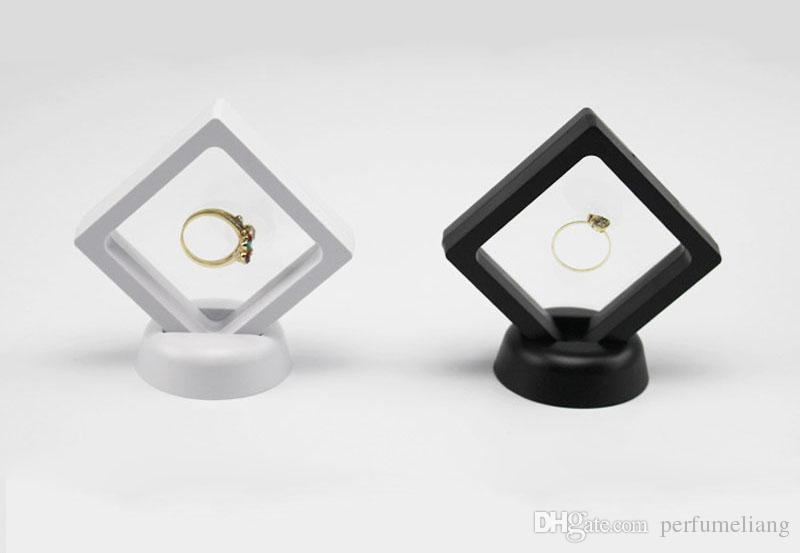 Schwarze weiße suspendierte schwimmende Anzeigetasche Schmuck Ring Münzen Edelsteine Artefakte Stand Halter Box Kostenloser Versand ZA3361