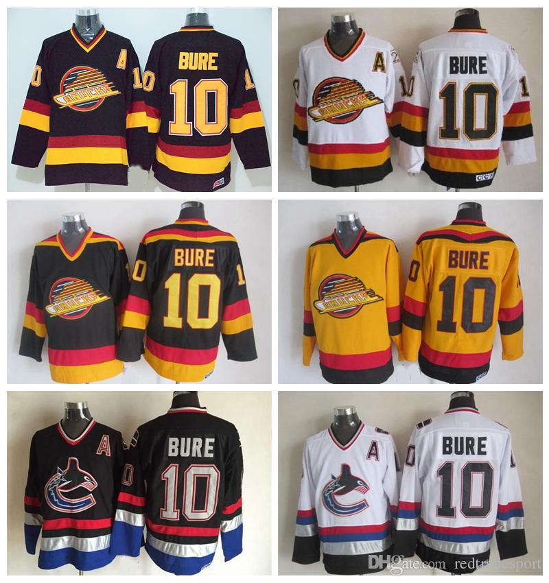 Mens Vancouver Canucks  10 Pavel Bure Hockey Jerseys Vintage Classic Black  White Yellow Cheap Mens Pavel Bure Stitched Jersey A Patch UK 2019 From ... cd98954690f