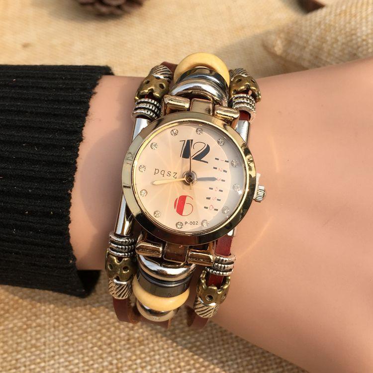 PQSZ B15 студентки Часы Браслет кварцевые часы горный хрусталь браслет Леди Кожаный ремешок Оптовая девушка девушки торговля в Европе