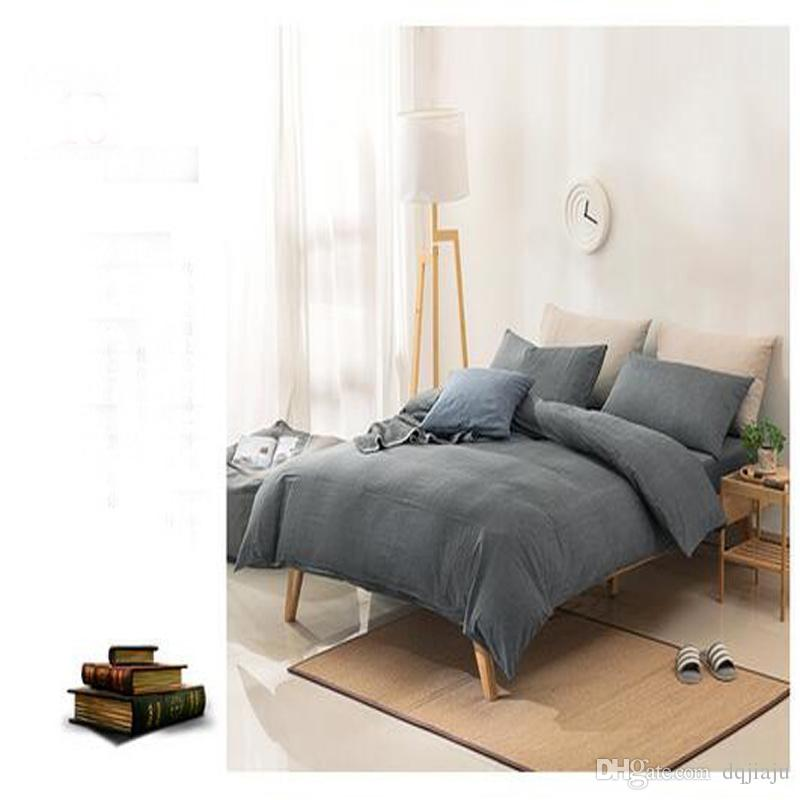 Wholesale Simple Bedding Sets 100% Cotton Fabric Duvet Cases Pillow Covers  Flat Bed Sheet 4 Pcs Bedding Supplies Free Shipping