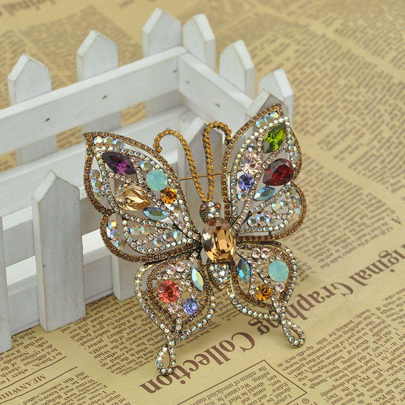 96x90mm Big multi color rhinestone butterfly pin brooch ,Bridal Dress Pin Bouquet Cake Decor DIY Supplies butterfly Rhinestone Brooch