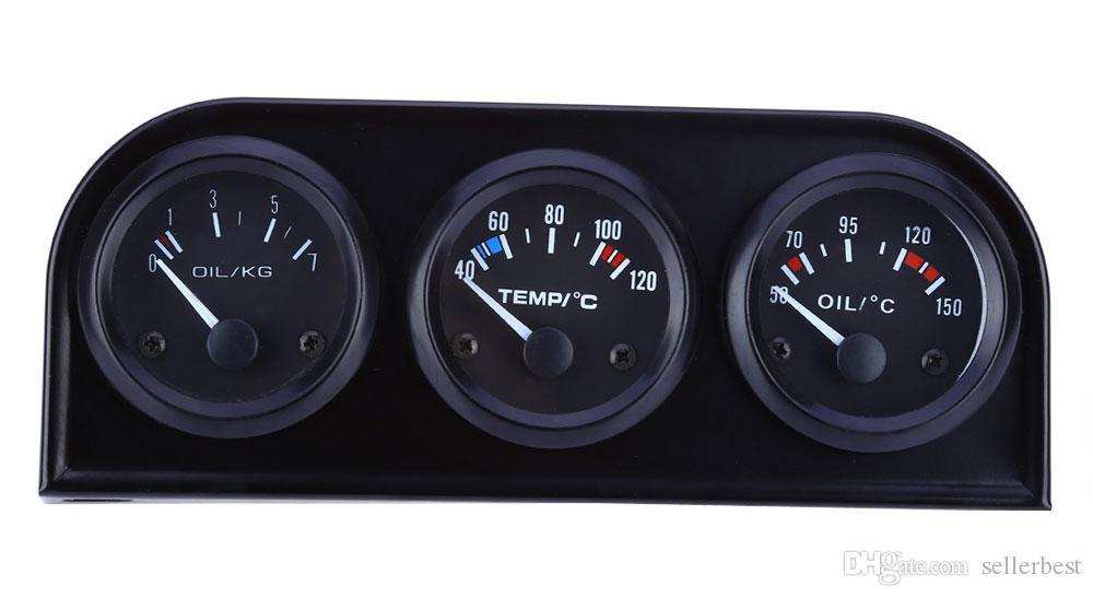 B735 52 MM 3 en 1 Medidor de Automóvil Medidor de Temperatura del Agua Sensor de Presión de Aceite Triple Kit 3 en 1 calibrador automático de automóviles operación simple