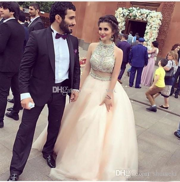 2017 High Neck Luxury Beaded Two Pieces Long Ball Gowns Prom Dresses Sleeveless Floor Length Formal Evening Celebrity Party Dress