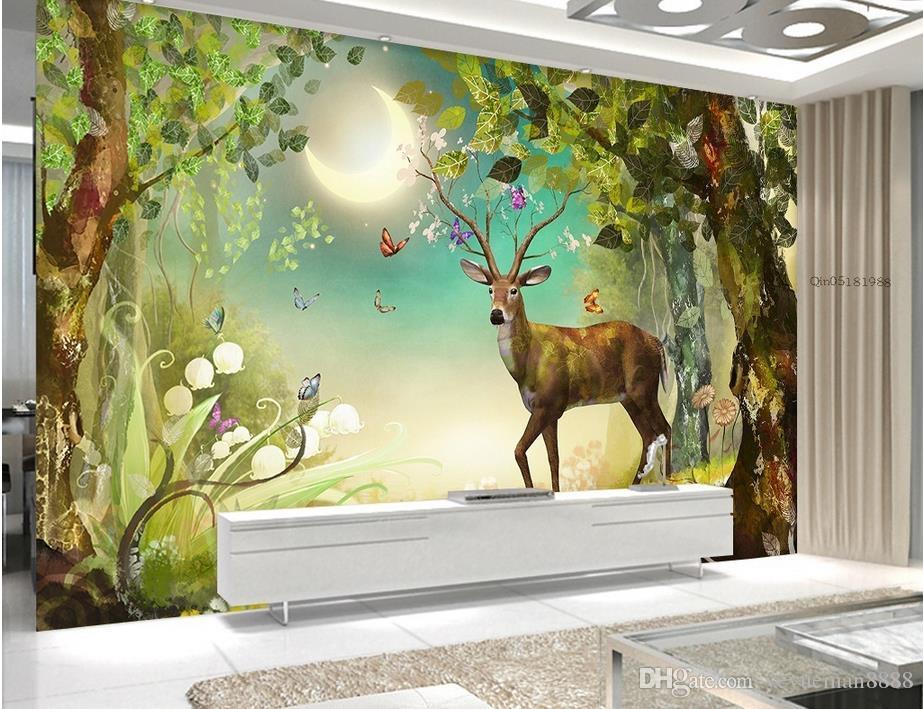 3d mural wallpaper Elk forest Customized 3d landscape wallpaper living room papel tapiz para pared moderno