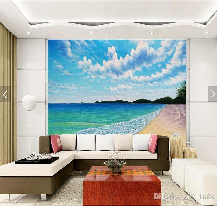 Blue Sky High Definition Beach Scenery Large Murals Wallpaper