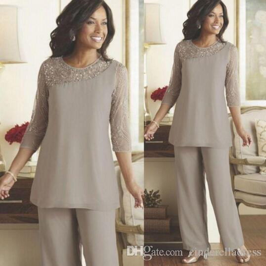 Hot Sale Silver Long Sleeves Mother Of The Bride Pant Suits 2020 Summer Spring Chiffon Custom Made Plus Size Wedding Guest Wear