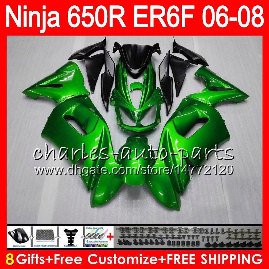 KAWASAKI NINJA 650R ER6F 06 07 08 parlak yeşil Ninja650R 20HM13 ER 6F 06-08 ER6 F ER-6F 2006 2007 2008 Fairing Kit