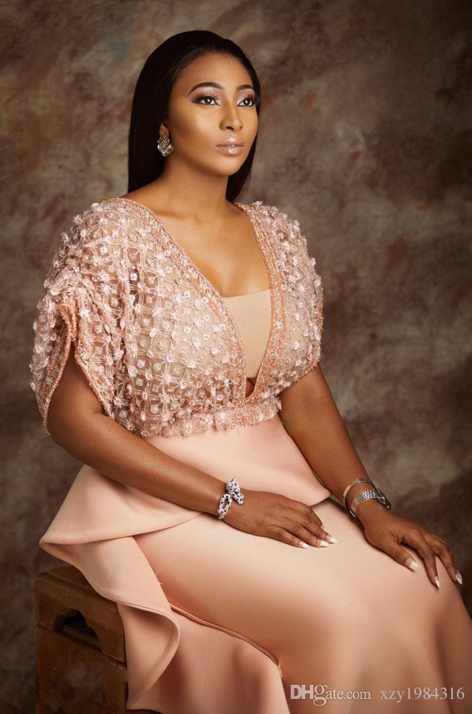 Luxe Sirène Robes de soirée Décolleté en V floraux Perles Applique à manches courtes robes de bal sexy élégant AsoEbi Party Celebrity Robes