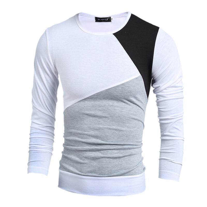 Wholesale 2016 NEW Fashion Brand Casual Slim Fit Tshirt Striped Patchwork  Long Sleeve T Shirt Men Slim Fit T Shirt Casual Design Coolest Tee Shirts  Cool T ... e931c8090a8
