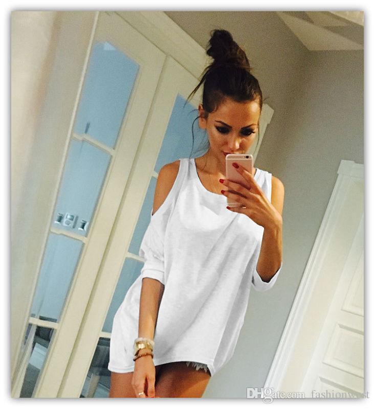 Camisa suelta para mujer fuera del hombro Camisa superior para mujer del verano ocasionales de la blusa