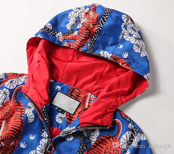 Bengal Kaplan 3D Baskı Ile erkek Fermuar Hood Dış Giyim Jakarlı Şapka Ceket Elastik Manşetleri Lüks Tasarım Hafif