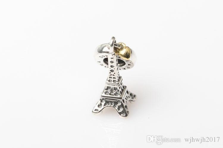 Изысканные ювелирные изделия стерлингового серебра 925 Эйфелева башня болтаться подвески кулон с 14 K позолоченные сердца для женщин подходит европейские браслеты DIY Making