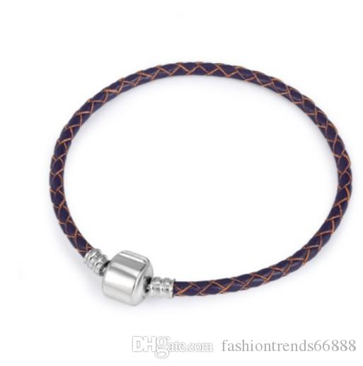 17-22CM Authentic 925 Sterling Silver Clasp Bead Original Stamp Woven Leather Bracelet Fits Pandora Charms Bracelet DIY Fashion Jewelry