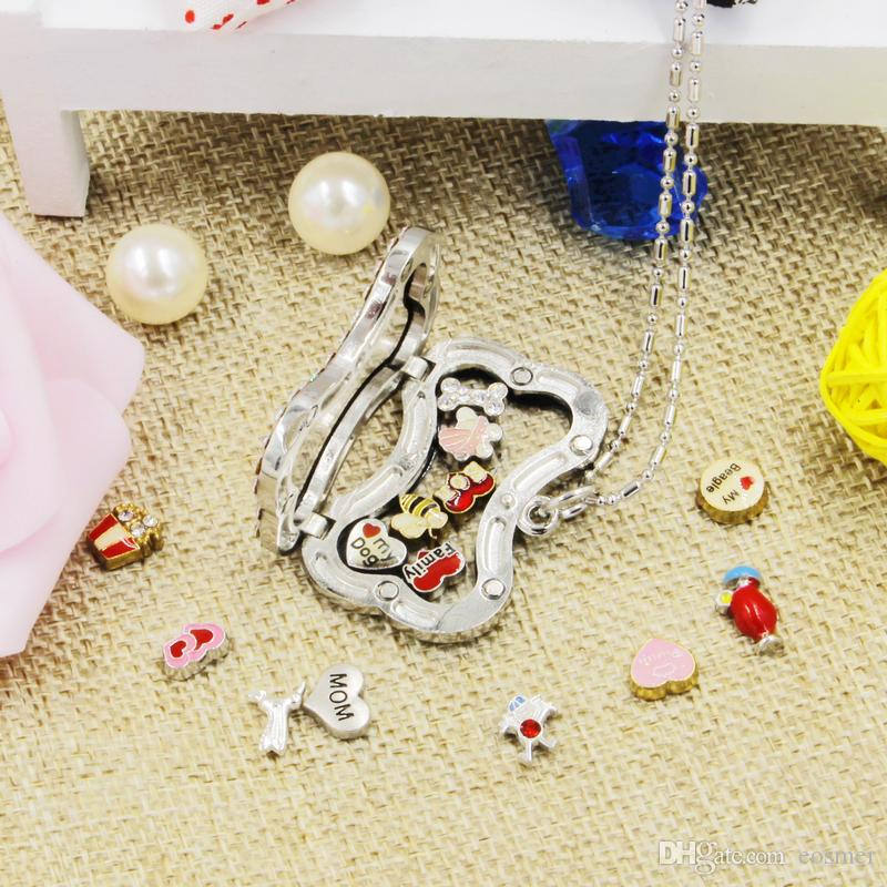 Small wholesale dog bone shape magnetic crystal DIY floating memory living locket pendant gift for hot selling retailer with free chains