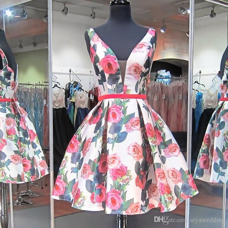 8abc4ba8ef Short Floral Print Prom Dresses Sexy Deep V Neck With Red Sash Knee Length  A Line Homecoming Formal Gowns For Women Cheap 2019 Prom Dresses Raleigh Nc  Prom ...