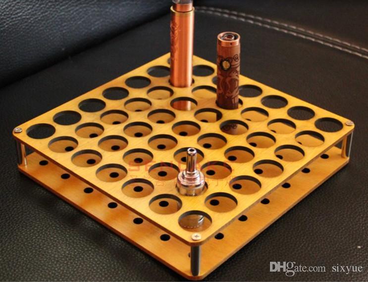 wooden e cig display stand shelf 100 or 49 holes wood stand holder rack for ecig evod battery 18650 mech mod atomizer vape tank