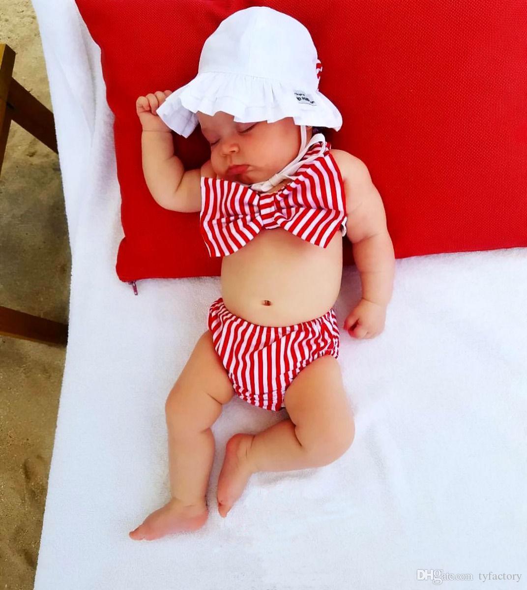 Çocuk mayo kız mayo bikini yüzmek bebek çocuk giyim kırmızı çizgili moda ilmek yaz giysileri 2017