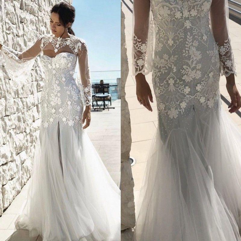 Vintage Beach Wedding Dresses Art Deco Inspired Neck Long Sleeves Split Sweep Train Appliqued Lace Bridal Gowns Designer 2015