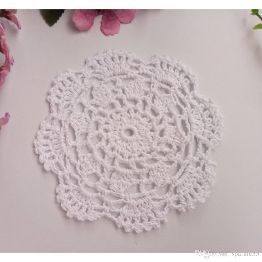 Wholesale DIY Household Handmade Flower Crochet Doilies Round Cup Mat Pad 14-15.5cm Coaster Placemats
