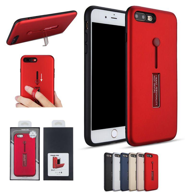 custom phone case for iphone x 8 7 plus 2in1 rubber finger holder