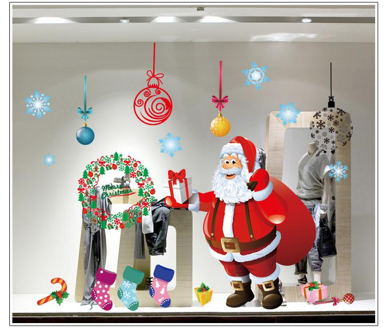 Home Accessories Hot Christmas Tree Wall Glass Decorative Snowman - Christmas wall decals removable