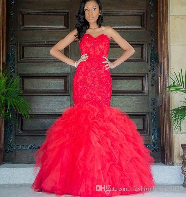 ec84fddbe39a Acquista Sexy Lungo Rosso Prom Dresses Mermaid Sweetheart Appliques Gonna A  File Africano Prom 2018 Plus Size In Rilievo Abito Da Sera Formale Abiti Da  ...