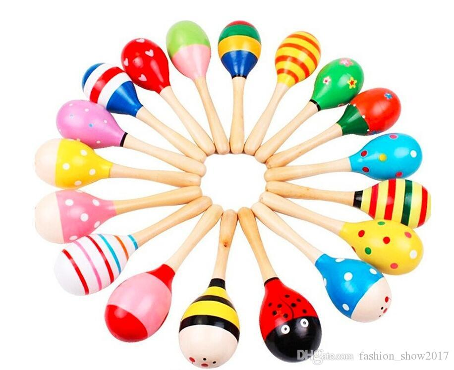 Colorful Sand Hammer Rattle Infant Mini Wooden Maracas Child madera Musical Instrument Baby Shaker Children Gift Toy