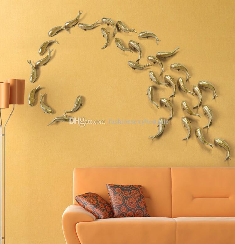 Fashion European style goldfish mural ornaments, hotel living room wall decorations craft home hooks wholesale 2PC/SET B706