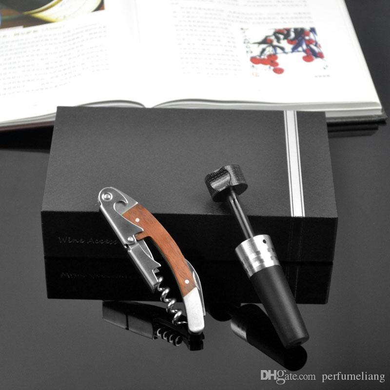 Holzgriff Professionelle Rotwein Opener Multifunktions Tragbare Schraube Korkenzieher Vacuum Versiegelt Kork Weinflasche Stopper Kappe ZA1649
