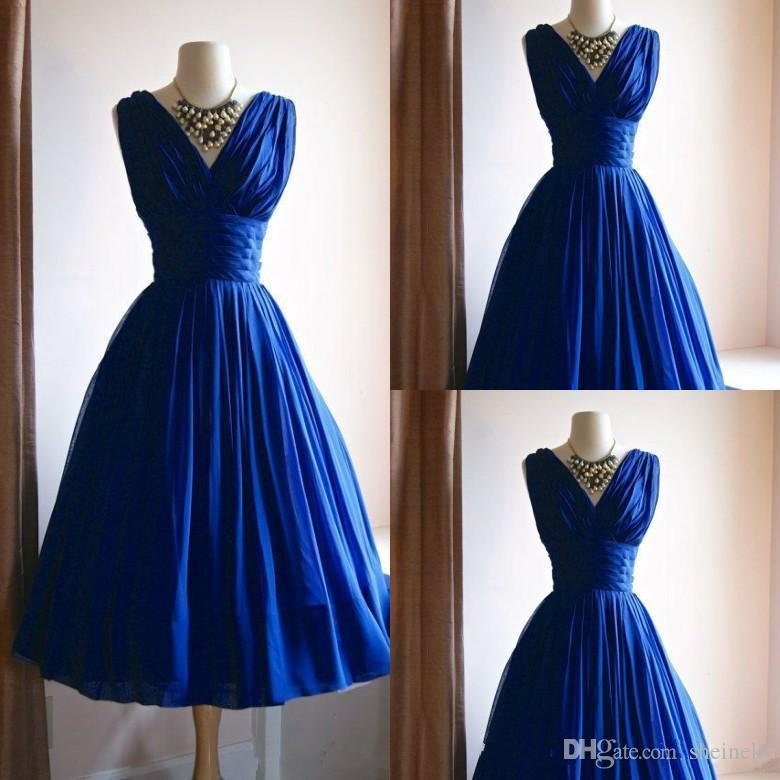 Vintage Wedding Dresses Canada: Vintage 1950s Blue A Line Prom Dresses Real Photos Custom